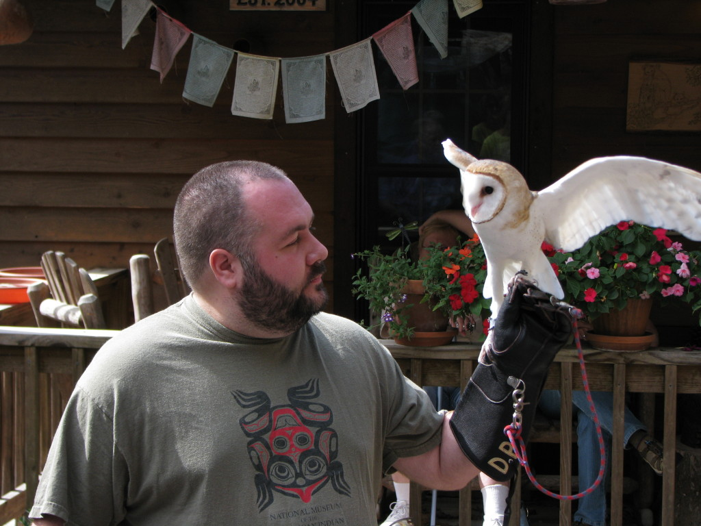 Domonic Potorti with Oberon the Barn Owl