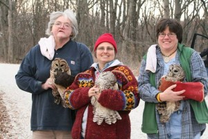 Laura, KayLee,and Patti with Barred Owls