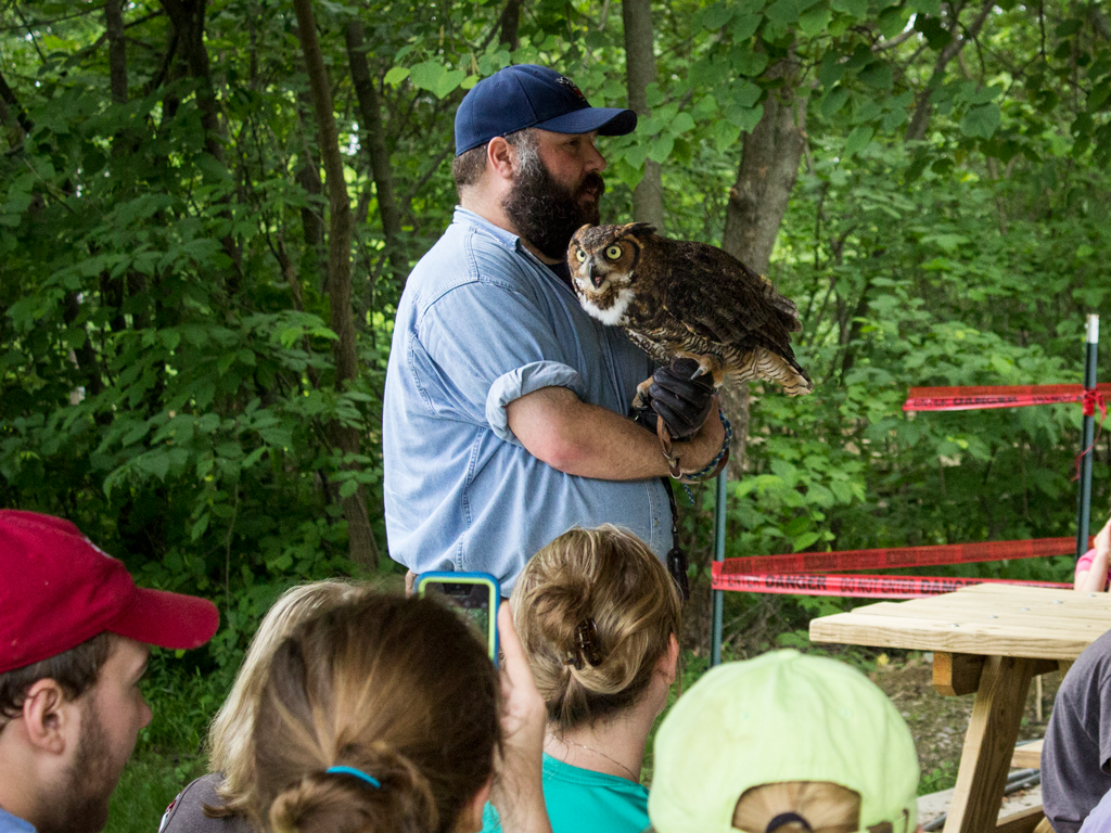 Domonic Potorti talks about Mowgli, a great horned owl, at Brown County State Park.