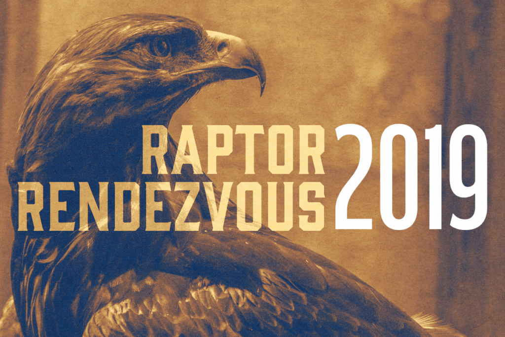 "A golden eagle in a sepia-tinted photo with the text ""Raptor Rendezvous 2019"""
